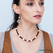 Aobei Pearl, Handmade Braided Pearl & Leather Necklace Pearl Necklace, ETS-S515