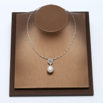 Aobei Pearl, Elegant Necklace for Women with 925 Sterling Silver Snake Chain and Freshwater Pearl Pedant, Pearl Necklace, ETS-S522