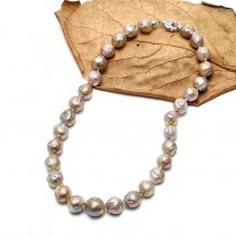 Aobei Pearl Handmade Necklace made of Colorful Freshwater Nuclear Pearl  and 925 String Clasp, Beaded Necklace, Pearl Necklace, ETS-S523