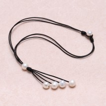 Aobei Pearl - Handmade Necklace made of Freshwater Pearl and Genuine Leather Cord, Pearl Necklace, Tassel Necklace, ETS-S535