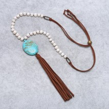 Aobei Pearl - 8-9 MM Potato White Pearl&35*45mm Turquoise Pendant Fashion Handmade Necklace