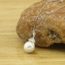 14-16 MM Keshi White Freshwater Pearl Silver Accessory Pendant  Fine Necklace