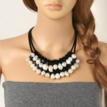 Aobei Pearl - 12-13 MM Baroque&11-12 MM Potato White Freshwater Pearl 2.5 MM Hole Leather Handmade Fashion Fine Necklace