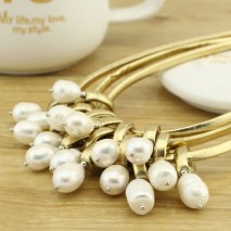 11-12 MM Natural Rice&Potato White Pearl 2.5 MM Hole Golden Leather Handmade Fashion Necklace