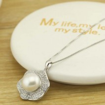 9-10mm AAA Genuine Freshwater Pearl, Pearl Necklace Women Handmade Freshwater Natural Pearls for Girls ,ETS-S569