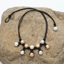 Aobei Pearl - Genuine Freshwater Pearl Necklace women Leather Necklace 10-11mm Potato Pearls Beads,ETS-S570