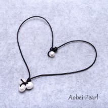 Aobei Pearl Handmade Necklace made of Freshwater Pearl and Genuine Leather Cord, Leather Pearl Necklace, ETS-S600
