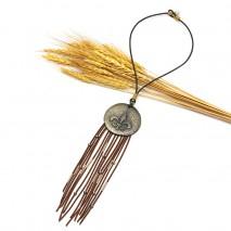 Aobei Pearl, Long velvet tassel large brass pendant choker necklace, tassel necklace, velvet necklace, ETS - S620