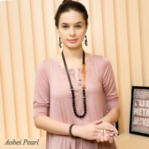 Aobei Pearl Handmade Necklace made of 12 mm Round Natural Agate Beads, Genuine Leather Cord and Korean Velvet Cord, Beaded Necklace, Agate Necklace, ETS-S621