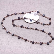 Aobei Pearl - Black freshwater pearl faceted crystal beaded necklace, long necklace, wrap necklace, ETS - S628
