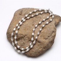 ETS-S651 AA rices shape natural pearl fashion new design necklaces