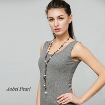 Aobei Pearl Handmade Necklace made of Freshwater Pearl and Genuine Leather Cord, Pearl Necklace, Tassel Necklace, ETS-S670