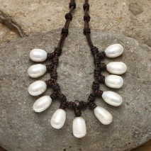 Aobei Pearl, Handmade Leather Necklace & Pearl Necklace with 11-12 mm White Rice Pearl and 10-11 mm White Potato Pearl, ETS-S700