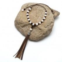 Aobei pearl ETS-S724 10-11mm potato white pearl, leather pearl necklace, leather pearl necklace