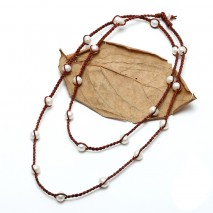 Aobei Pearl Handmade Leather Necklace with 11 -12 mm White Potato Pearl, ETS-S725