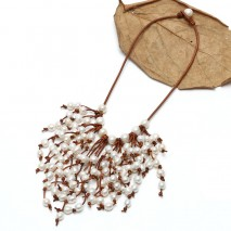 Aobei Pearl Handmade Leather Necklace with 11-12 mm White Potato, 9-10 mm White Pearl and 9-10 mm White Rice Pearl, ETS-S728