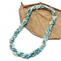 Aobei Pearl Handmade four strands knots necklace with 5 mm Turquoise, ETS-S733