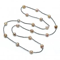 Aobei Pearl Handmade Necklace with 11-12 mm freshwater nuclear pearl and 2 mm Hematite, ETS-S742