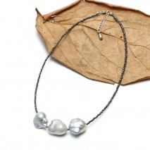 Aobei Pearl Handmade Necklace made of 13-15 mm Baroque nuclear pearl and 2 mm Hematite, ETS-S745