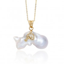 Aobei Pearl, the Only One Piece Necklace in the World --- 13.5 mm * 35 mm * 20 mm White Baroque Freshwater Pearl in Unique & Natural Shape with 925 String Silver Chain Plated with Gold, ETS-S770