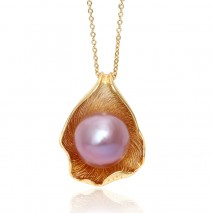 Aobei Pearl, Exquisite Necklace made of 11-12 mm Purple Round Freshwater Unclear Pearl and String Silver Accessory Plated with Gold, Pearl Necklace, String Solver Necklace, Necklace Plated with Gold, ETS-S772
