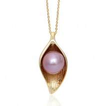 Aobei Pearl, Exquisite Necklace made of 11-12 mm Purple Round Freshwater Unclear Pearl and String Silver Accessory Plated with Gold, Pearl Necklace, String Solver Necklace, Necklace Plated with Gold, ETS-S773