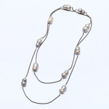 Aobei Pearl, Handmade Necklace with 11- 12 mm Grey Eight-shape Freshwater Pearl and Snake-bone Chain, Pearl Necklace, Fashion Necklace, ETS-S781