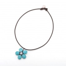Aobei Pearl, May Flower Neckalce, Handmade Necklace, Freshwater Pearl Necklace, Leather Necklace, Turquoise Necklace, Simple Necklace, Fashion Necklace, Party Necklace, Daily Wear Necklace, ETS-S785