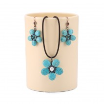 Aobei Pearl, May Flower Jewelry Set with Pearls and Turquoises, ETS-S786