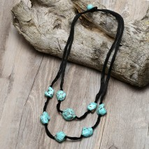 Aobei Pearl, Handmade Necklace with 13-19 mm * 18-25 mm * 20-28 mm Irregular Turquoise, 12 mm Round Turquoise and Black Cotton Thread, Turquoise Necklace, ETS-S787