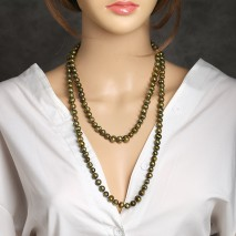 Aobei Paerl, Handmade Knots Necklace with Green Bronze Pearl, Pearl Neckalce, ETS-S788