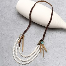 Aobei Pearl Handmade Necklace with Pearl, Turquoise & Leather, Pearl Necklace, Bibs Necklace, ETS-S789