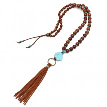 Aobei Pearl, Handmade Turquoise & Wooden Beads Necklace for Fashion Girls ! Wooden Beads Necklace, Turquoise Necklace, ETS-S794