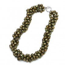 Aobei Pearl Handmade 4 Strands Necklace with Pearls and String Silver Clasp for Ladies, Pearl Necklace, ETS-S796