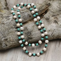 Aobei Pearl, Handmade Beaded Necklace with Pearls & Turquoises, Pearl Necklace, ETS-S816