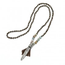 Aobei Pearl Handmade Necklace with Hematite & Natural Amazonite & Alloy Accessory, ETS-S818