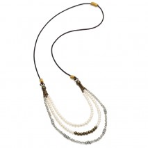 Aobei Pearl, Handmade Bib Necklace with Pearls, Glass Rice Beads and Alloy Beads, Pearl Necklace, ETS-S824