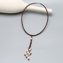 Aobei Pearl, Hand-braided Necklace with Pearls, Turkey Leather Cord and Stainless Steel Clasp, Pearl Necklace, ETS-S826