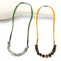 Aobei Pearl, Handmade Leather Necklace with Natural Stones, Leather Choker, ETS-S828