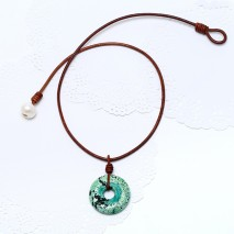 Aobei Pearl - Handmade Necklace made of Leather Cord, Freshwater Pearl and Turquoise, ETS-S844