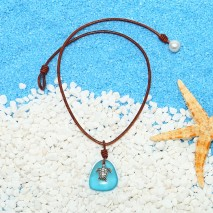 Aobei Pearl Handmade Colorful Crystal-glass Beads, Leather Cord, Freshwater Pearl and Alloy Tortoise Pendant Plated with Silver, Beach Necklace, ETS-S851