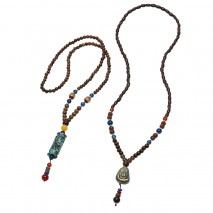 Aobei Pearl Handmade Necklace with Natural Wooden Beads and Natural Stone Beads, Vintage Necklace, ETS-S856