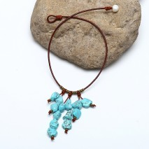 Aobei Pearl Handmade Necklace with Freshwater Pearl, Turquoise and Copper Beads, Pearl Necklace, ETS-S864