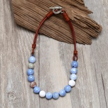 Aobei Pearl Handmade Necklace with Natural Agate Beads, OT Clasp and Genuine Leather Cord, Bib Necklace, ETS-S867