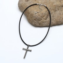 Aobei Pearl, Handmade Necklace made of Alloy Cross and Genuine Leather Cord, Pendant Necklace, Unisex Necklace, ETS-S870