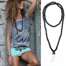 Aobei Pearl, Personalized Necklace with Natural Wooden Beads & Artificial Tiger Tooth Pendant, Pendant Necklace, ETS-S872