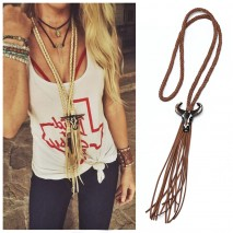 Aobei Pearl, Handmade Necklace with Braided Suede and Bull Head Resin Accessory for Women, Braided Tassel Necklace, ETS-S874