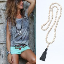 Aobei Pearl, Handmade Long Necklace with Skull Head Shape Turquoise and Cotton Thread Tassel, Beaded Necklace, ETS-S877