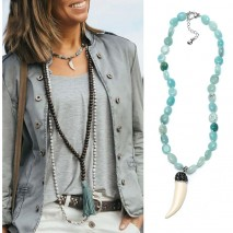 Aobei Pearl, Personalized Necklace with Natural Amazonite & Artificial Tiger Tooth Pendant, Pendant Necklace, ETS-S878