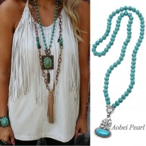 Aobei Pearl Handmade Necklace with Turquoise and Alloy & Turquoise Pendant, Beaded Necklace, Cactus Necklace, ETS-S879